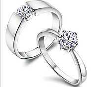 cheap -Men's Women's Couple Rings Classic Romantic Copper Rhinestone Silver Plated Platinum Plated Costume Jewelry Daily