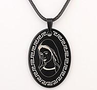 baratos -Presente personalizado Oval cristão Padrão  Colar Gravado