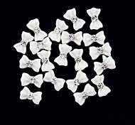 cheap -20PCS 3D White Resin Rhinestone Bowknot Nail Decorations