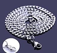 Недорогие -Персональный подарок Серебряный ювелирные изделия нержавеющей стали Гравировка цепи ожерелье 0.5cm Ширина