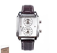 cheap -Personalized Father's Day Gift Men's Rectangle Brown PU Band Analog Engraved Watch with Rhinestone