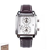 подарок на день мужская прямоугольник коричневый PU Группа аналогового Персонализированные отца выгравированы часы с горный хрусталь