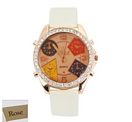 Персональный подарок Женская коричневый циферблат белый PU Band Аналоговое гравированные Часы с горный хрусталь