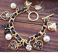 cheap -Women's Charm Bracelet Luxury Love European Pearl Imitation Pearl Imitation Diamond Alloy Bowknot Heart LOVE Jewelry Christmas Gifts