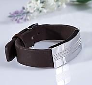 Недорогие -мужская мода коричневые крестики из нержавеющей стали 316L кожаный браслет