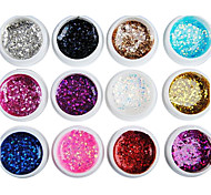 12PCS Mixs Color Glitter Sequins UV Color Gel for Manicure Nail Tips(8ml)