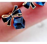 Недорогие -Новый стиль Корея Бабочка Корень Тень Синий Rhinestone серьги стержня (1 пара)