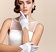 Недорогие -Сатин Полиэстер До запястья Перчатка Классика Свадебные перчатки Вечерние перчатки With Однотонные