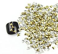 300PCS 3D Golden Triangle Liga Nail Art de Ouro e Prata Decoração