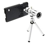 Zoom 12X Teleobjetivo metal Celular lente con el trípode para Samsung S5
