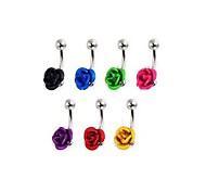 lureme®316l хирургического титана стали цветы пупка кольцо (случайный цвет)
