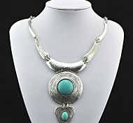 Toonykelly ® Vintage античный Серебро Бирюзовый ожерелье (зеленый) (1 шт)