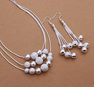 Women's Drop Earrings Necklace Jewelry Basic Silver Plated Circle For Party Daily Casual Office & Career Wedding Gifts