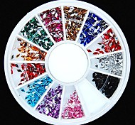 600PCS 12Colours Diamond Shape Acrylic Rhinestones Wheel Nail Art Decoration
