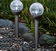 Conjunto de 2 Mudando a cor da bola de vidro Solar Crackle Stake Lâmpada Jardim