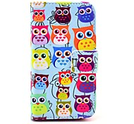 baratos -COCO ® FUN bonito colorido Coruja Padrão PU Leather Case Full Body Com Filme, Stand And Stylus para iPhone 4/4S