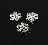 10pcs argento fiocco di neve scintillio strass lega 3d decorazione nail art