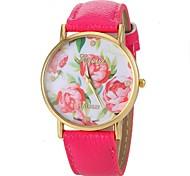 Недорогие -Жен. Модные часы Кварцевый PU Группа Цветы Черный Белый Синий Роуз