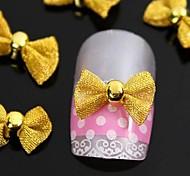 10pcs gravata borboleta de ouro para pontas dos dedos acessórios nail art decoração