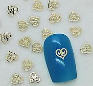 Недорогие -200шт уникальный дизайн полая сердце золотой металл ломтик ногтей украшения