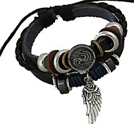 The New European Style Beaded Angel Wings Leather Bracelet Christmas Gifts