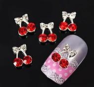 10pcs   Cherry Bow Bowknot 3D Rhinestones  Alloy Nail Art Decoration