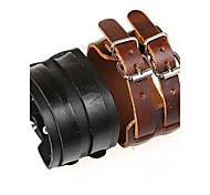 Double Buckle Retro Unisex Wide Leather Bracelet