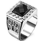 Herrn Damen Statementringe Liebe individualisiert Modeschmuck Edelstahl Acryl Diamantimitate Quadatische Form Geometrische Form Schmuck