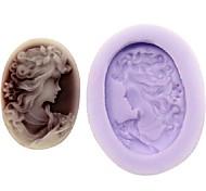 Недорогие -Beatifull девушки Fondant торт шоколадный смолы глины конфеты силиконовые формы, l3.3m * w2.6cm * h0.9cm