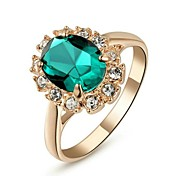 18K Rose Gold Plated Emerald Green/Blue/Red Ring Elegant Jewelry CZ Diamond Austrian Crystal Stellux