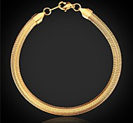 cheap -U7® Top Quality 18K Chunky Gold Plated Snake Chain Bracelet for Men or Women with 18KGP Stamp 5MM 20CM