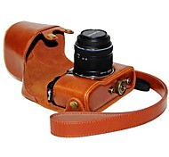 Dengpin® Leather Protective Camera Case Bag Cover with Shoulder Strap Oil Skin for Olympus PEN E-P5 14-42mm Lens