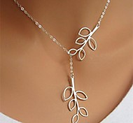 cheap -Women's Leaf Silver Plated Pendant Necklace - Long Fashion Adjustable Simple Style Leaf Silver Necklace For Birthday Business Gift