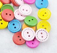 Colorful Scrapbook Scraft Sewing DIY Wooden Buttons(10 PCS Random Color)
