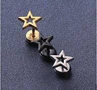 European Fash Pentagram  Titanium Steel Stud Earrings(Black,Silver,Gold) (1 Pc)