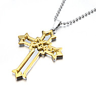 Love Thick Zinc Alloy Gold Silver Crucifix Cross Pendant Necklace Christmas Gifts