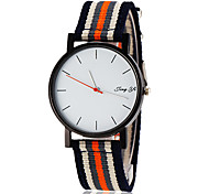 Men's Simple White Dial Stripe Fabric Band Quartz Wrist Watch (Assorted Colors) Cool Watches Unique Watches