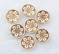 baratos -flor padrão de recados scraft costura botões de casca de coco diy (10 peças)