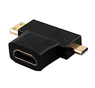 Недорогие -HDMI v1.4 женщиной Mini HDMI мужчина + Micro HDMI Мужской HDMI-переключатель преобразователь адаптер