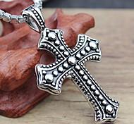 Недорогие -Ожерелье Ожерелья с подвесками Бижутерия Для вечеринок Повседневные Крестообразной формы Титановая сталь Мужчины Подарок Серебряный