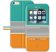 abordables -BASEUS™ Flip-open Display Windows PU&PC Full Body Case with Stand for iPhone 6 (Assorted Colors)