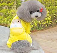 Cane Tuta Pigiami Abbigliamento per cani Cotone Inverno Primavera/Autunno Romantico Casual Cartoni animati Giallo Costume Per animali