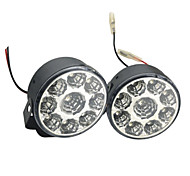Carking™ Universal 9 LED Round Style Car DRL Daytime Running Light/Fog Light-White Light(2PCS)