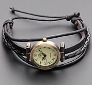 cheap -Women's Quartz Bracelet Watch Japanese Casual Watch Genuine Leather Band Vintage Bohemian Fashion Black Khaki
