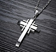 Недорогие -Муж. Крест форма Ожерелья с подвесками Титановая сталь Позолота Ожерелья с подвесками Новогодние подарки Свадьба Для вечеринок