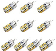 cheap -10pcs 1.5W 130-150 lm G4 LED Corn Lights T 24 leds SMD 2835 Decorative Warm White White DC 12V