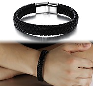 Super Man Fashion Leather Hand-woven Titanium Steel Buckle Bracelet Jewelry Christmas Gifts
