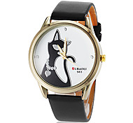 cheap -Women's Casual Watch Quartz PU Band Black White Red Brown Strap Watch