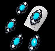 10шт овальные синий камень с черными полые линии зубками пальцев аксессуаров украшения искусства ногтя