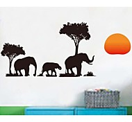 Black Elephant Tree Wall Stickers